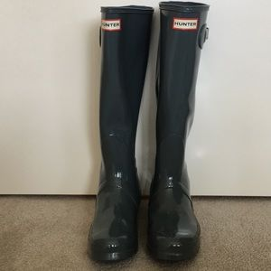NWOB Hunter Gray Tall Rain Boots